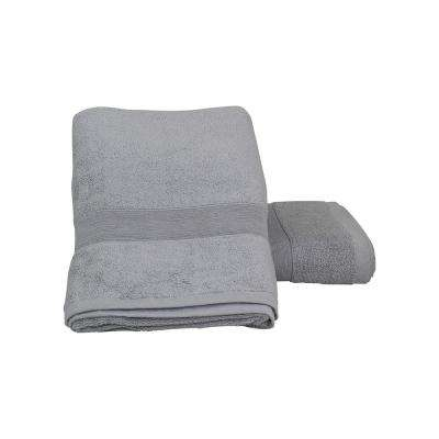 Luxury 2-Piece Cotton Bath Towels in Gray