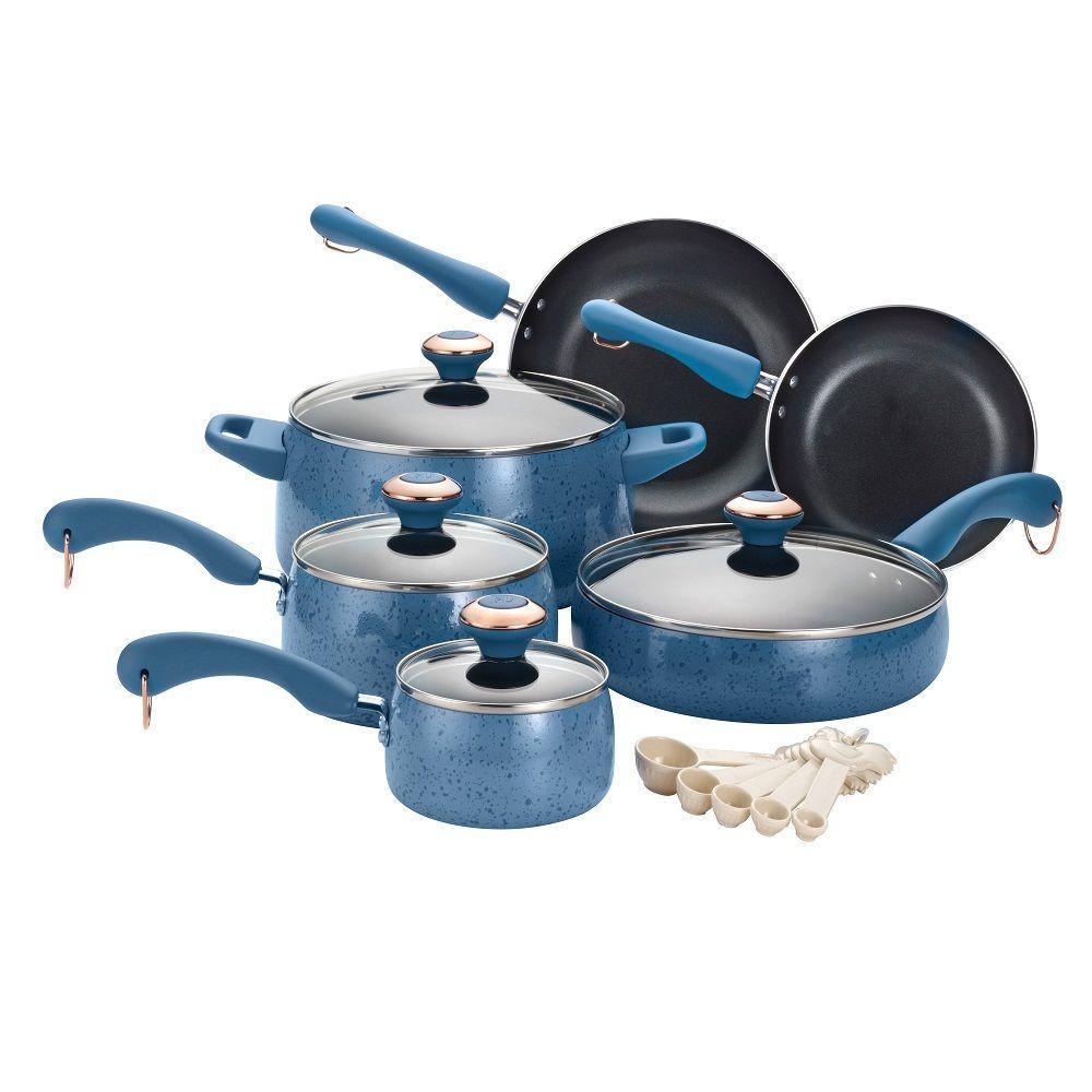 Signature Porcelain 15-Piece Blueberry Cookware Set with Lids