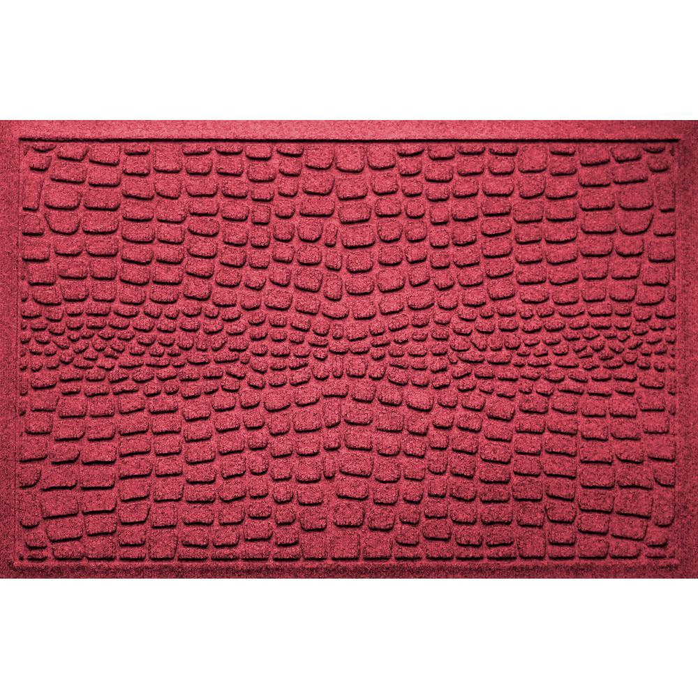 Aqua Shield Alligator Red Black 24 in x 36 in Polypropylene Door Mat
