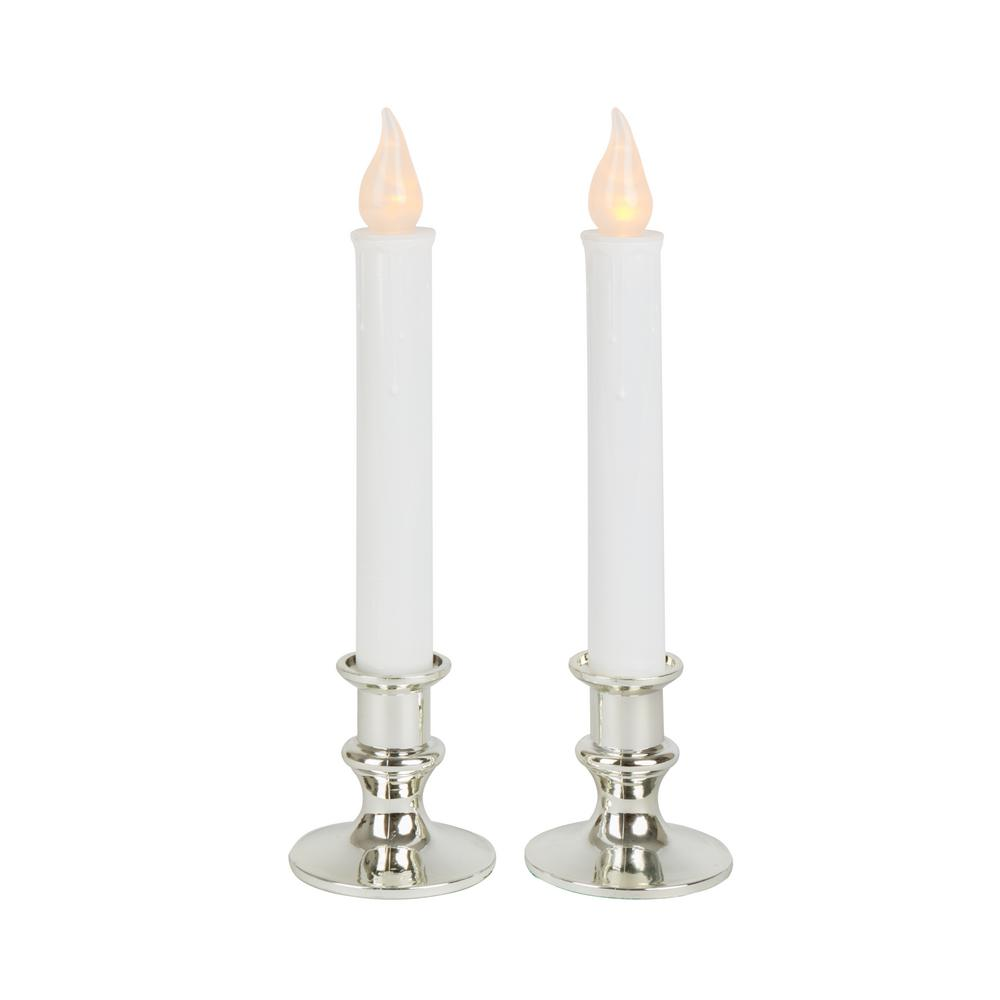 Home Accents Holiday 9 in. Silver Base LED Holiday Candle with Timer (2-Pack)