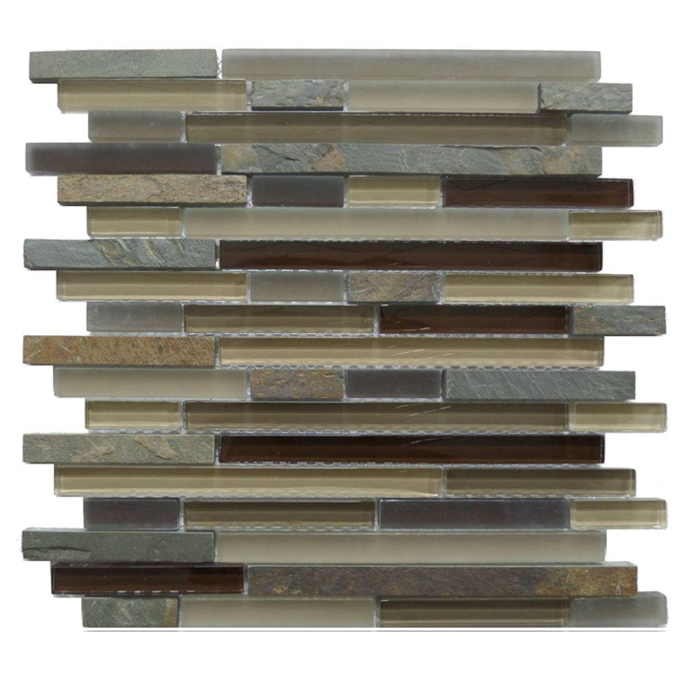 inoxia speedtiles bengal brown in x in x 8 mm stone self adhesive wall mosaic tile. Black Bedroom Furniture Sets. Home Design Ideas