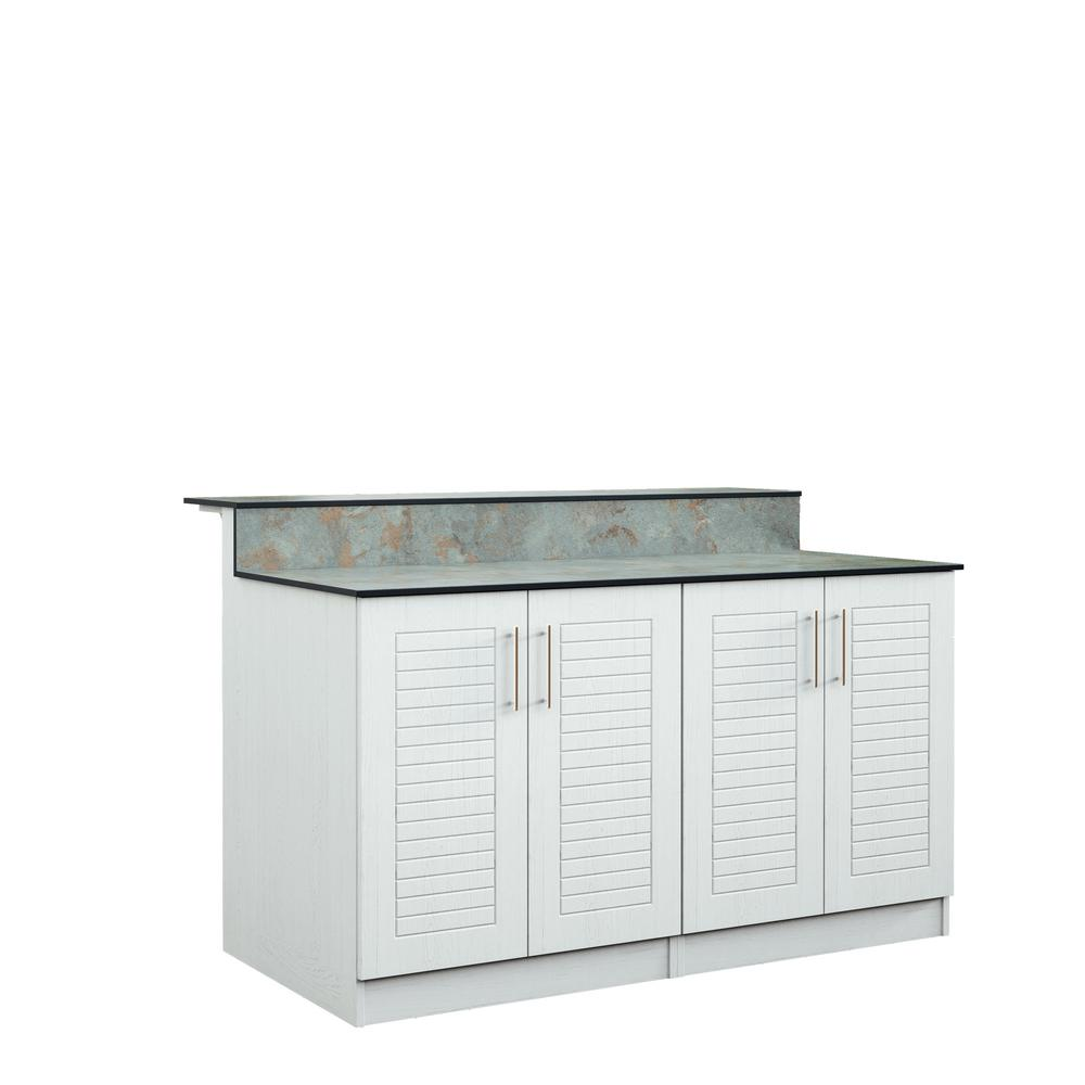 Key West 59.5 in. Outdoor Bar Cabinets with Countertop 4 Full