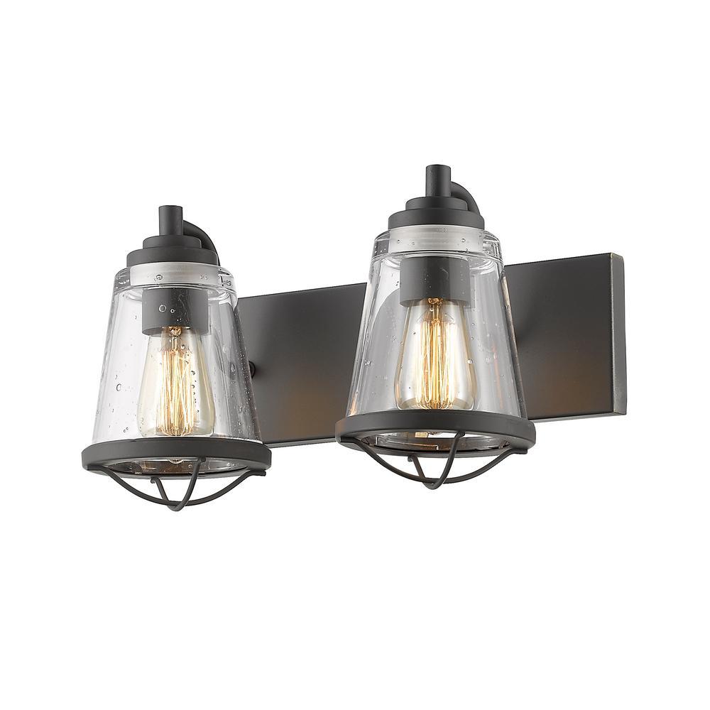 Filament Design Lorinda 2-Light Bronze Bath Light with Clear Seedy Glass  Shade