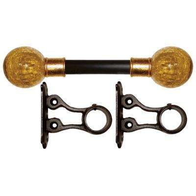 7 ft. Fixed Length 1 in. Dia. Gilded Metal Drapery Rod Set with Amber Crackle Finial
