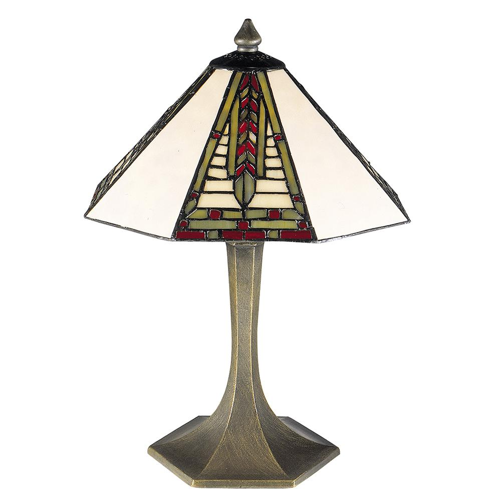 Dale Tiffany 15 In. Mini Dana Antique Brass Finish Table Lamp With Tiffany  Art Glass