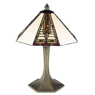 Mini Dana Antique Brass Finish Table Lamp With Tiffany Art Glass Shade