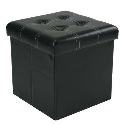 Black Contrast Stitching with 4-Buttons on Top Single Folding Faux Leather Ottoman