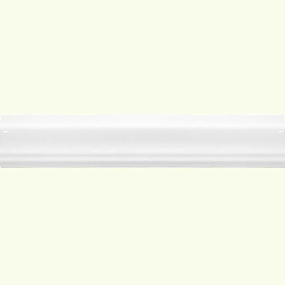 Jeffrey Court Allegro White Gloss Crown 2 in. x 12 in. x 8 mm Ceramic Wall Trim