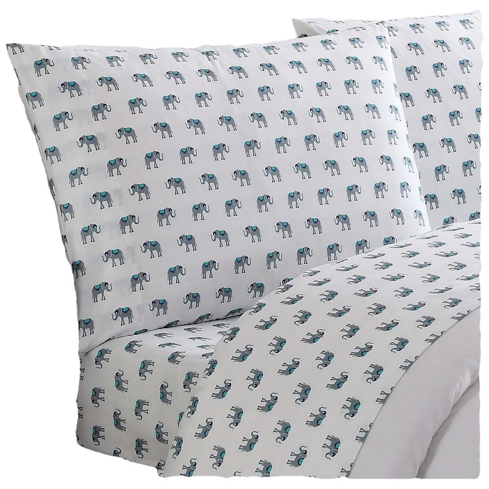 Everyday Printed Elephants Twin Sheet Set, Multiple