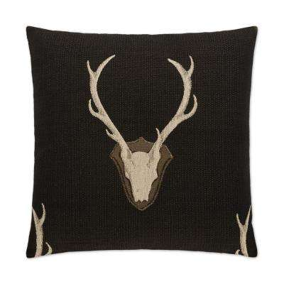 Uncle Buck Black Feather Down 24 in. x 24 in. Standard Decorative Throw Pillow