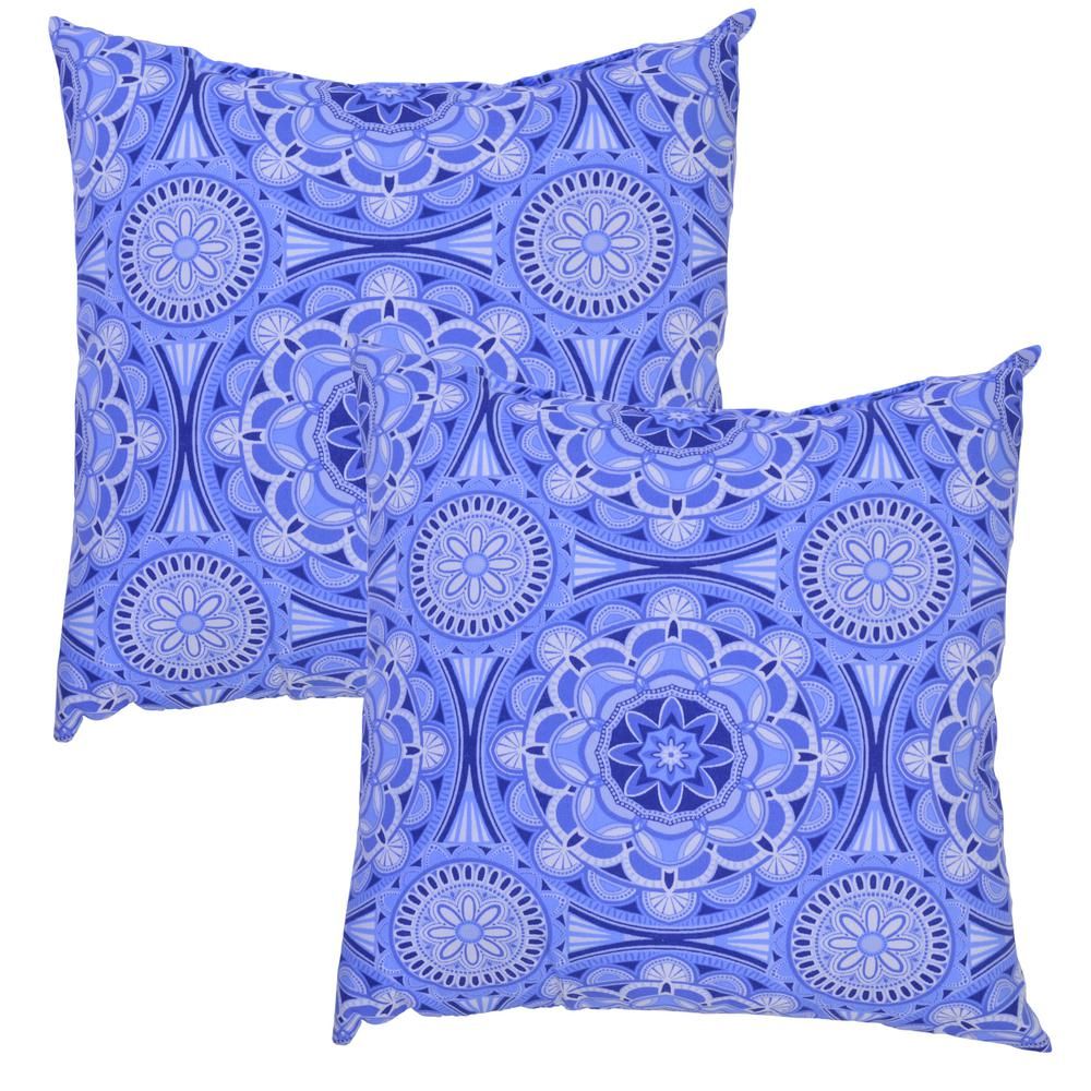 Periwinkle Medallion Square Outdoor Throw Pillow 2 Pack