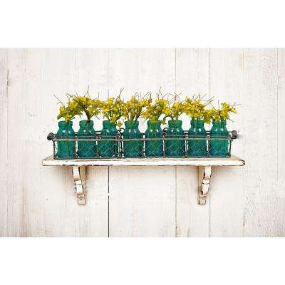 Green Decorative Vases in Wire Basket