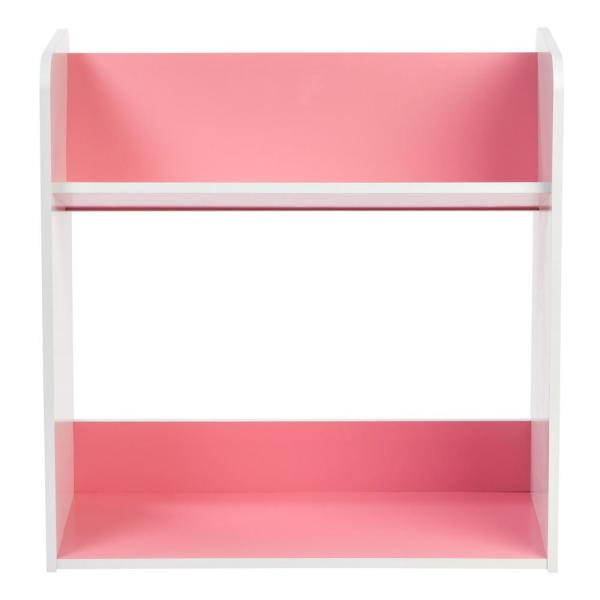 White and Pink 2-Tier Book Cart