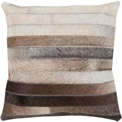 Cela Black Geometric Polyester 18 in. x 18 in. Throw Pillow