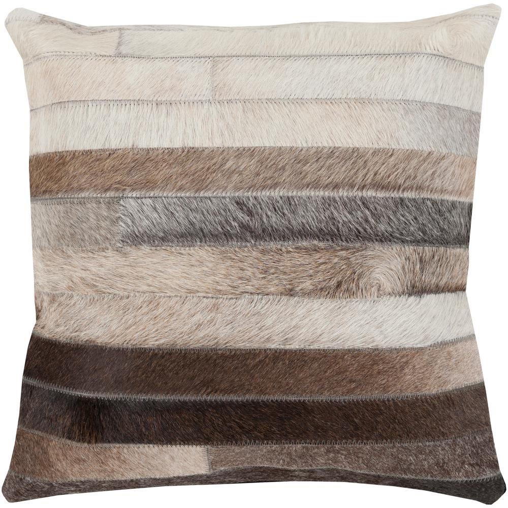Cela Black Geometric Polyester 20 in. x 20 in. Throw Pillow
