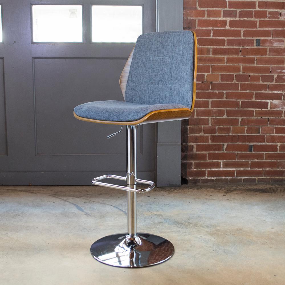 Bent Wood Adjustable Height Slate Swivel Cushioned Bar Stool