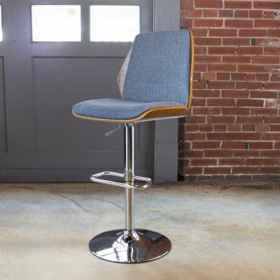 Bent Wood Adjustable Height Slate Swivel Cushioned Bar Stool
