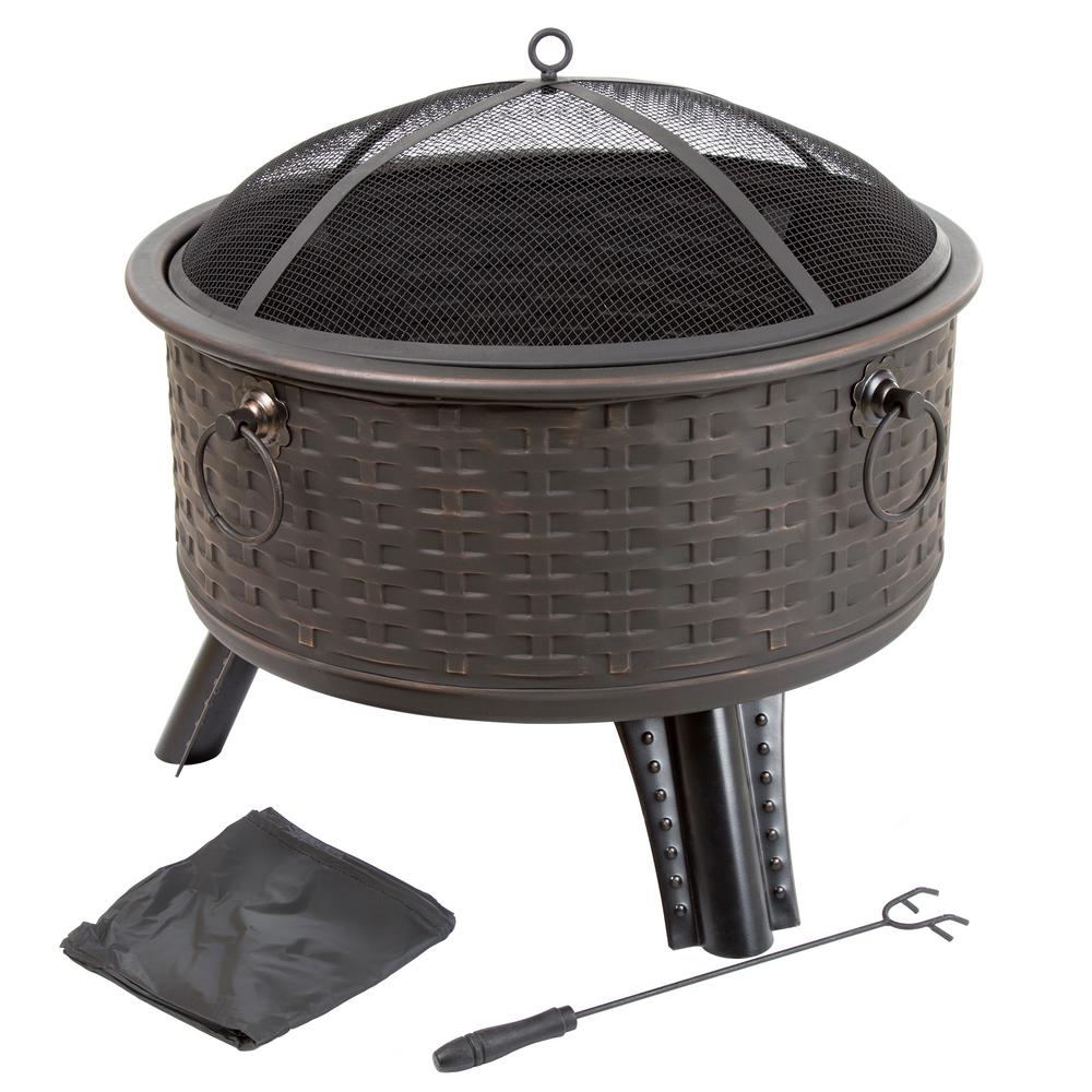 Pure Garden 26 in. Steel Round Woven Fire Pit with Cover