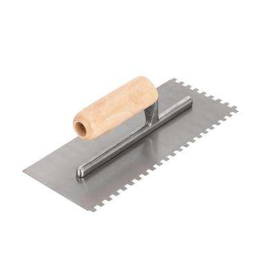 1/4 in. x 1/4 in. x 1/4 in. Square-Notch Pro Trowel with Wood Handle