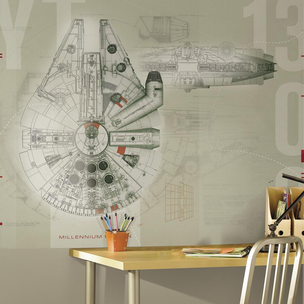 RoomMates 90 in x 72 in Star Wars Millennium Falcon Prepasted