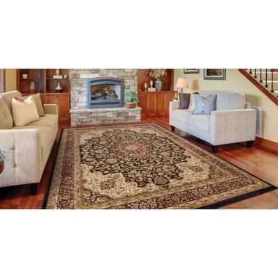 Silk Road Black 9 ft. x 13 ft. Medallion Area Rug