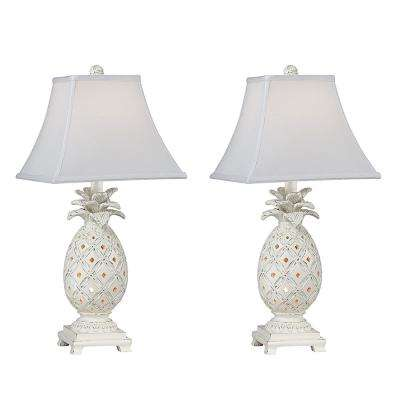 22.5 in. Cottage White Indoor Table Lamp Set