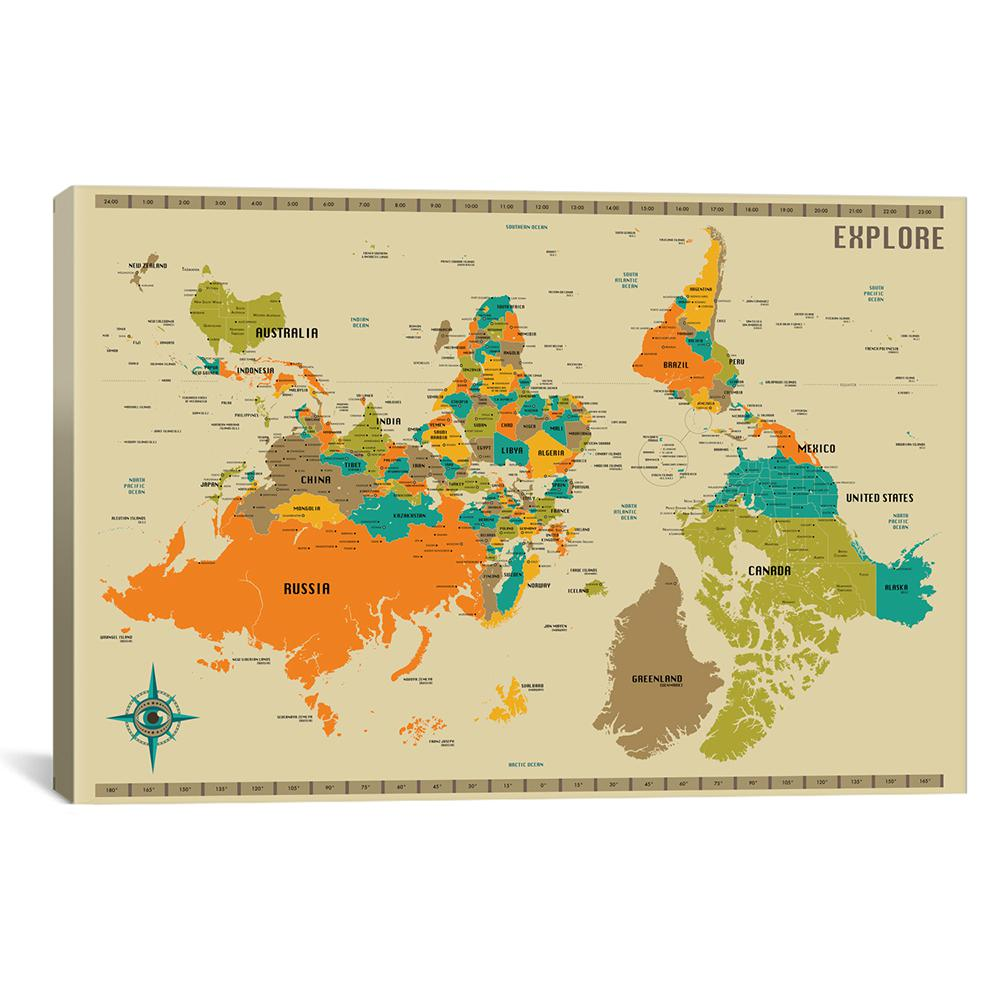 Icanvas Upside Down New World Map By Jazzberry Blue Canvas Wall
