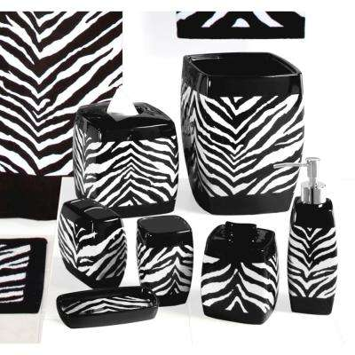 Zebra 7-Piece Ceramic Bath Accessory Set in Black/White