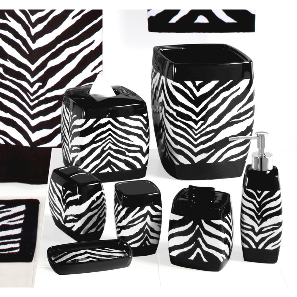 Zebra 7-Piece Ceramic Bath Accessory Set in Black/White