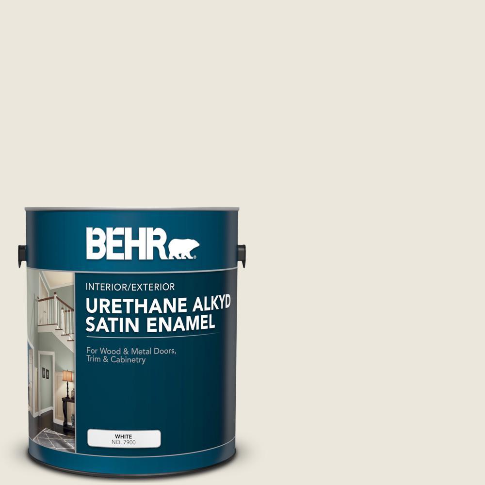 BEHR 1 gal. #BXC-32 Picket Fence White Urethane Alkyd Satin Enamel Interior/Exterior Paint