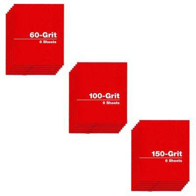 4.5 in. x 5.5 in. - Assortment (60, 100, and 150 Grit) (18-Pack)