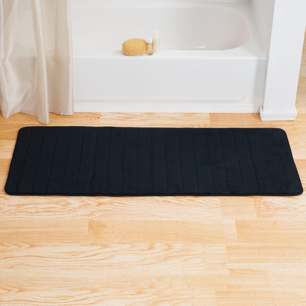 Lavish Home Black 24 25 In X 60 In Memory Foam Striped Extra