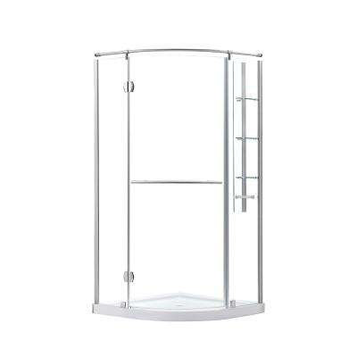Glamour 36 in. x 73.90 in. Semi-Frameless Corner Hinged Shower Door in Satin Nickel