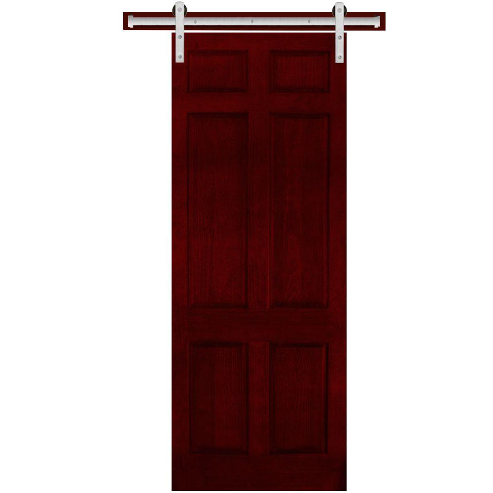 Steves & Sons 36 in. x 90 in. 6-Panel Painted Pine Interior Door Slab with Sliding Door Hardware