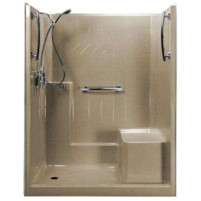 Freedom Chrome-V 60 in. x 33 in. x 77 in. 1-Piece Low Threshold Shower Stall in Cotton Seed, Kit, R-Seat, Center Drain
