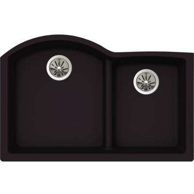 Premium Quartz Undermount Composite 33 in. Rounded Offset Double Bowl Kitchen Sink in Caviar