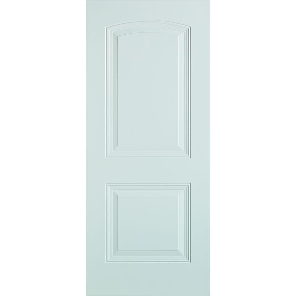 36 in. x 80 in. 2-Panel Painted Steel Front Door Slab