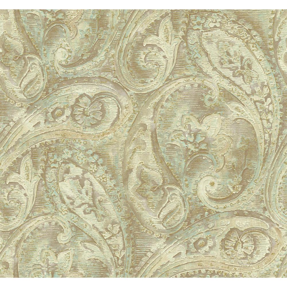 York Wallcoverings Gold Leaf Raised Paisley Wallpaper GF0717