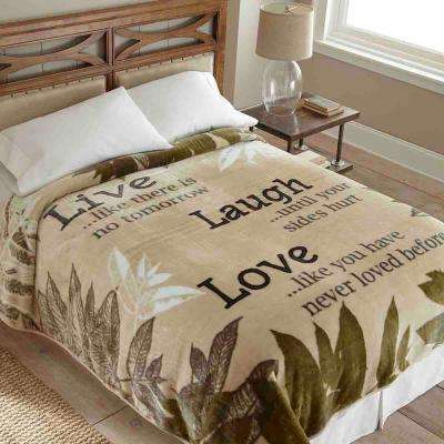 90 in. x 90 in. High Pile Live Laugh Love Raschel Knit Coverlet