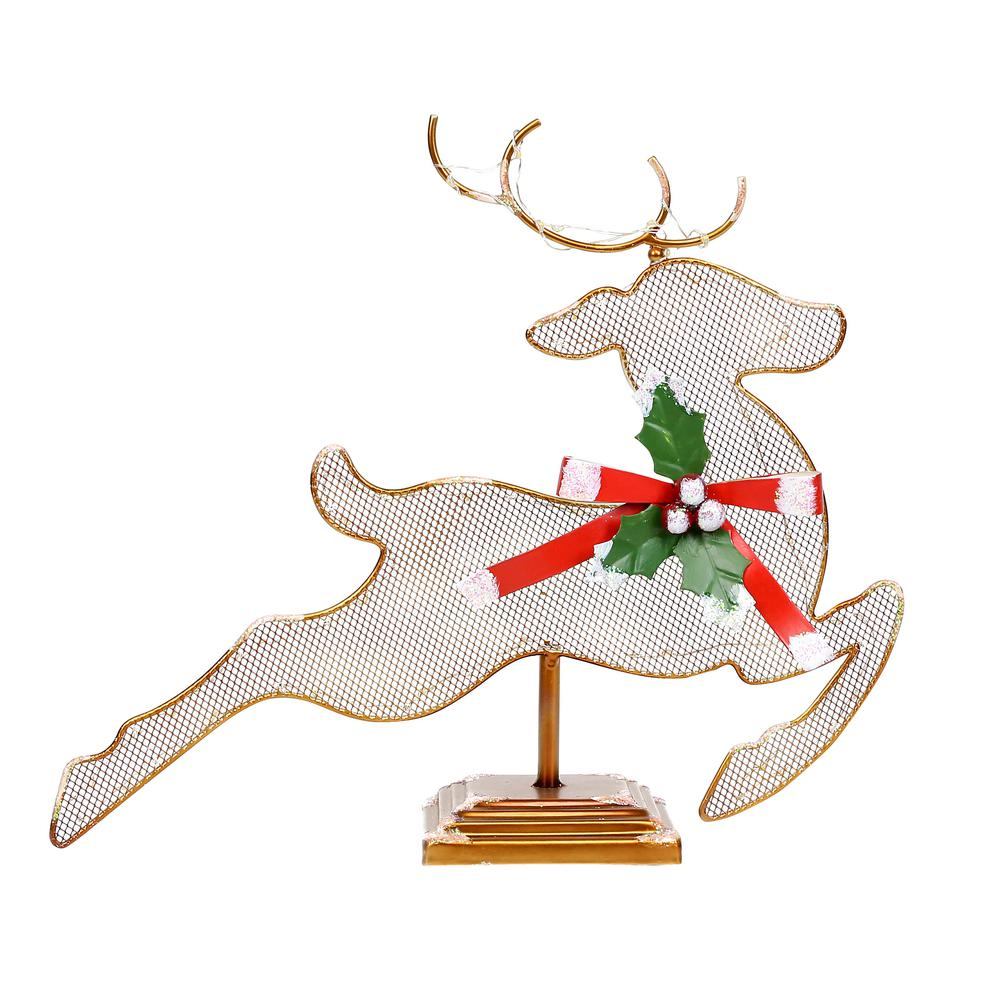 Alpine Corporation 11 in. Tall Christmas Reindeer Table Decor with White LED Light