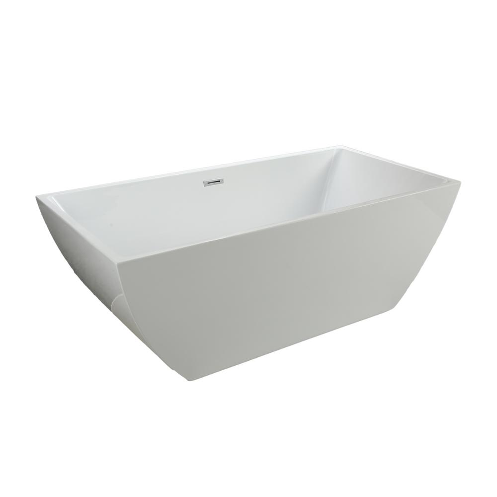 Dockweiler 67 in. Acrylic Flatbottom Non-Whirlpool Bathtub in White