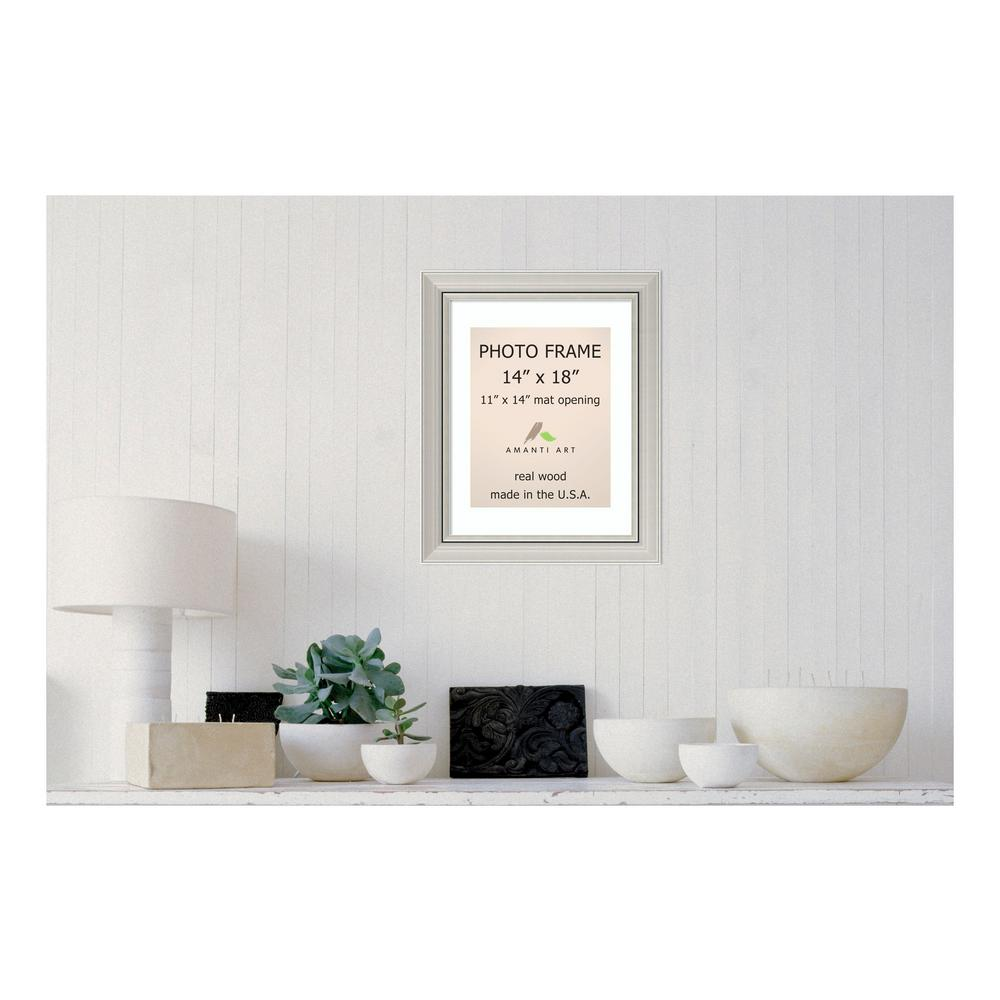 Amanti Art Romano 11 in. x 14 in. White Matted Silver Picture Frame ...