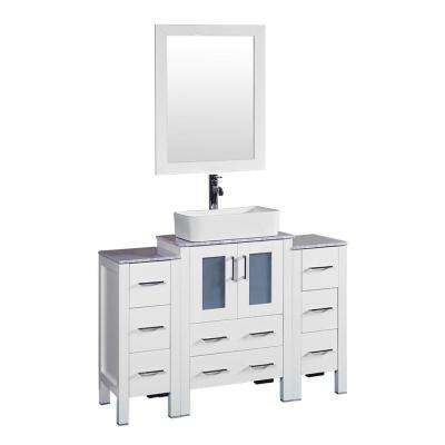 48 in. W Single Bath Vanity in White with Carrara Marble Vanity Top with White Basin and Mirror
