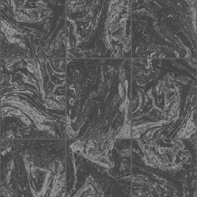 Strata Glitter Marble Tile Black Removable Wallpaper