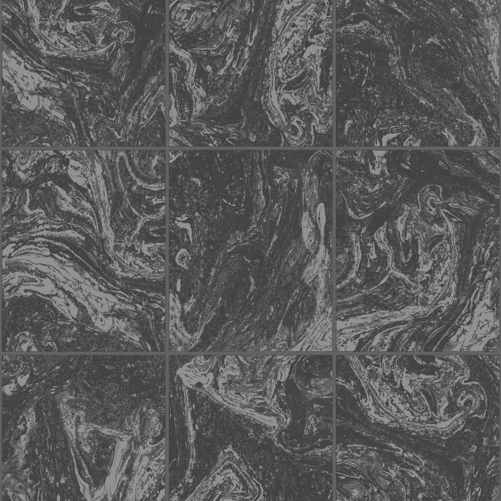 Graham & Brown Strata Glitter Marble Tile Black Removable Wallpaper
