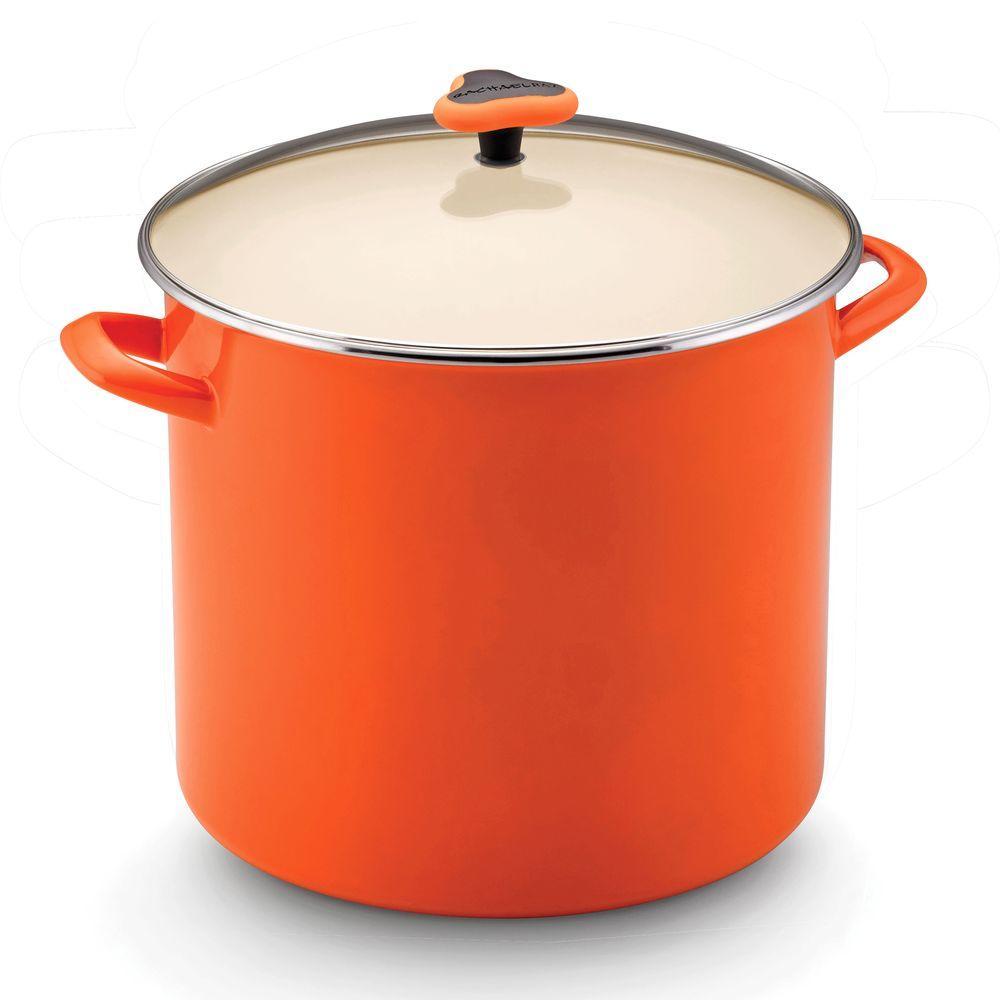 Rachael Ray 16 qt. Nonstick Porcelain Enamel Covered Stockpot in Orange