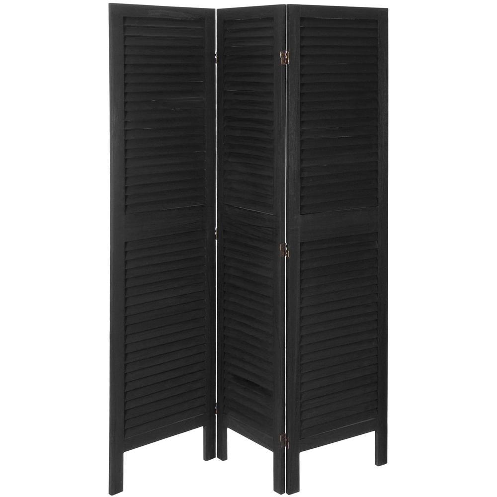 6 ft. Black Classic Venetian 3-Panel Room Divider