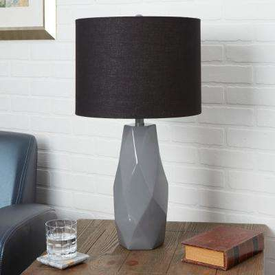Naomi 26 in. Gray Table Lamp with Linen Shade