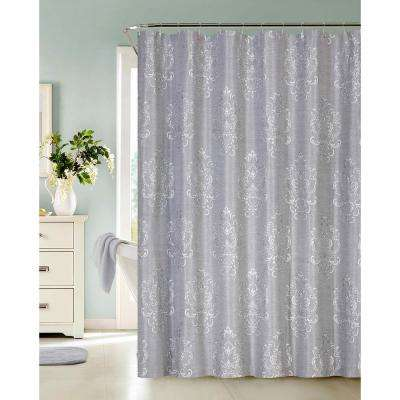 Bella 72 in. Silver Jacquard Shower Curtain