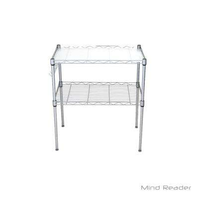 2 Tier Microwave Shelf and Rack with 6 Hooks in Silver